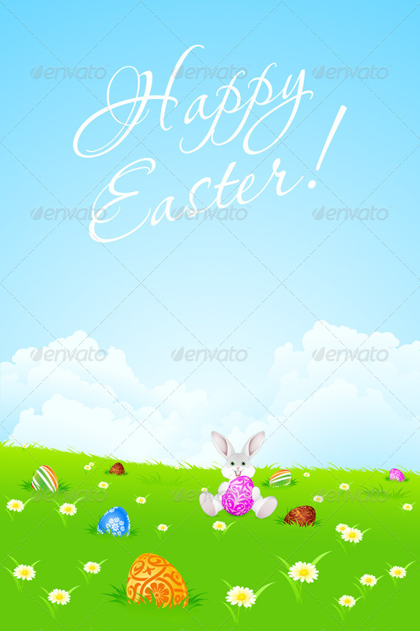 Green Easter Landscape Background - Seasons/Holidays Conceptual