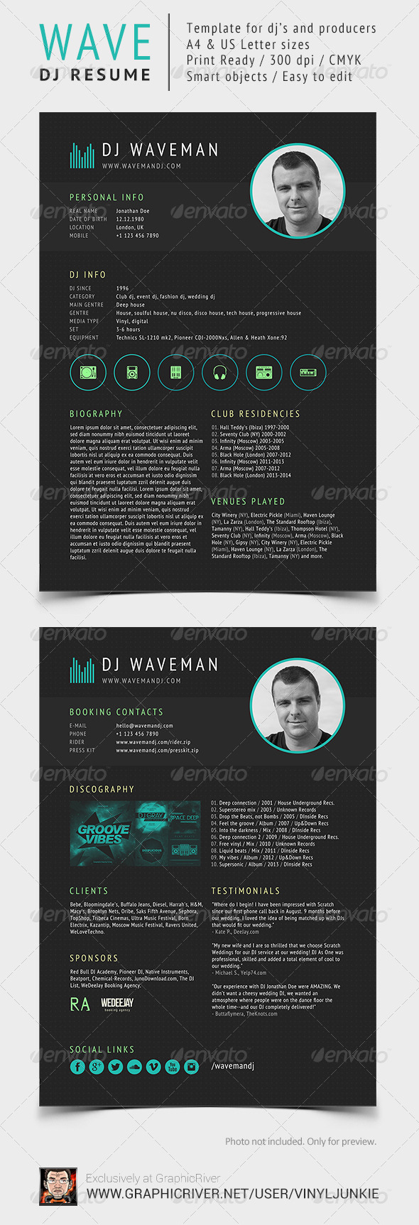 Wave - DJ Resume - Resumes Stationery