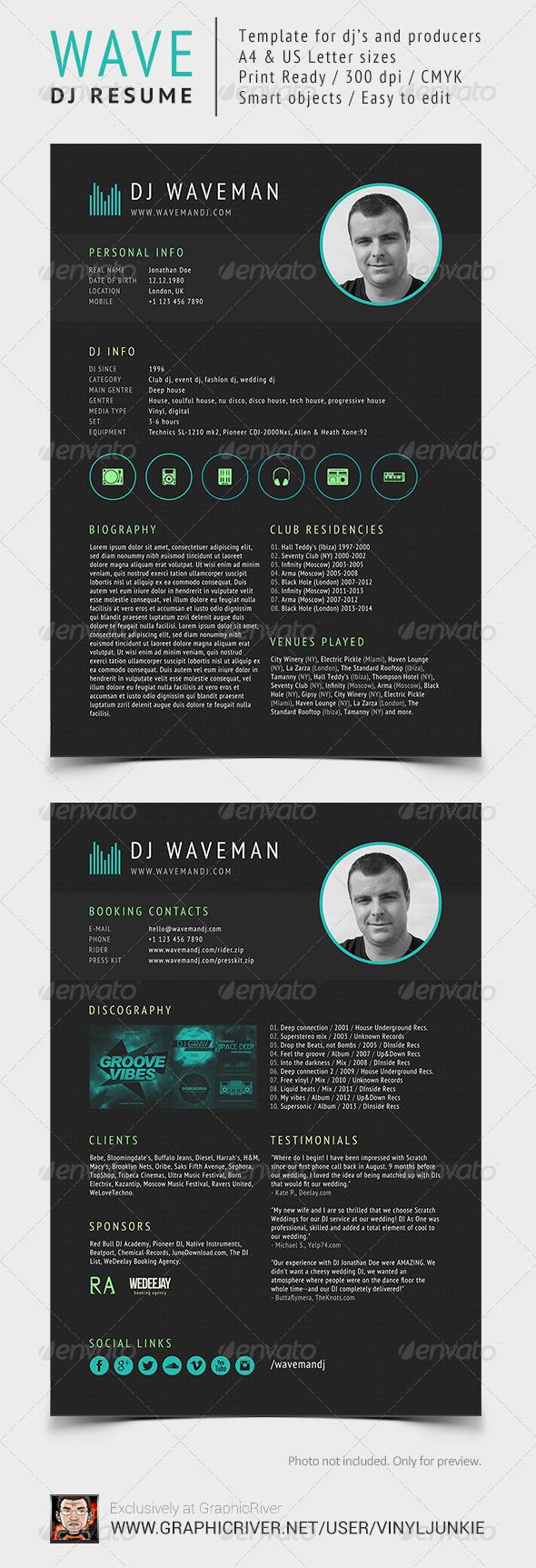 GraphicRiver Wave DJ Resume 6713459