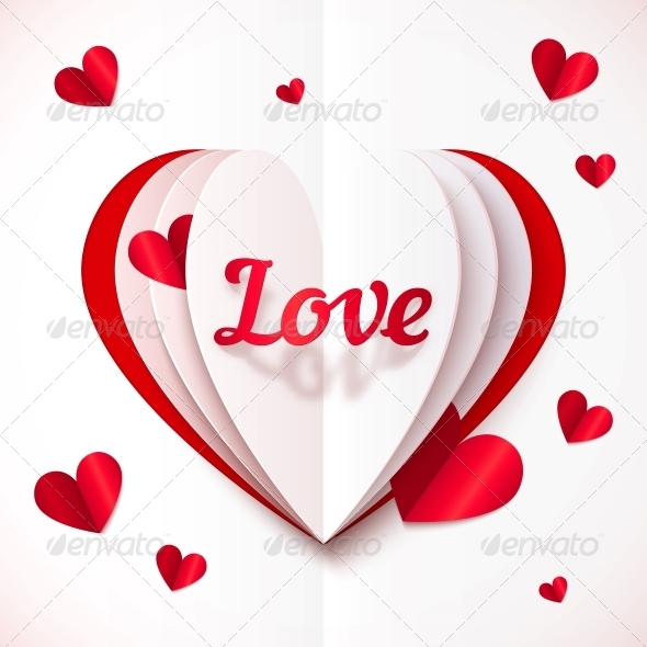 GraphicRiver Realistic Paper Love Sign in Folded Hearts 6713860