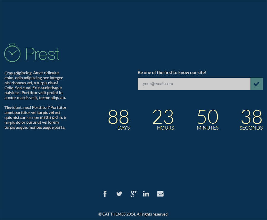 Prest | Coming Soon Template