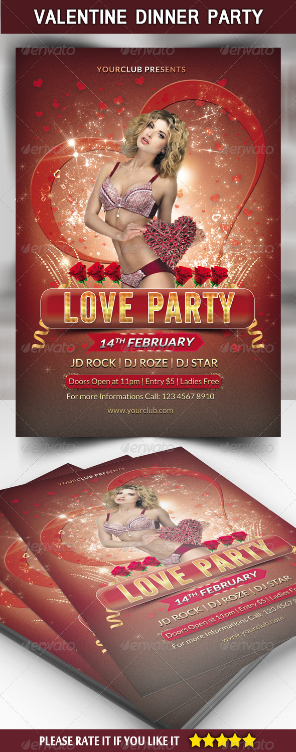 GraphicRiver Love Party Flyer Template 6713932