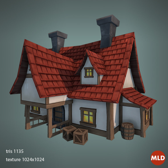 3DOcean Low Poly Big House 6714025
