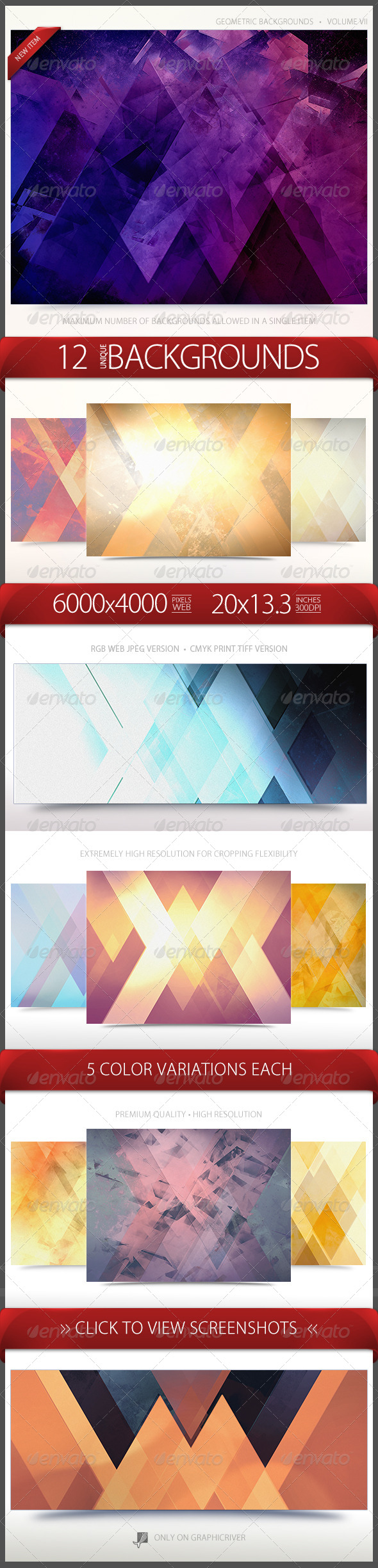 GraphicRiver Geometric Backgrounds Volume 7 6696936