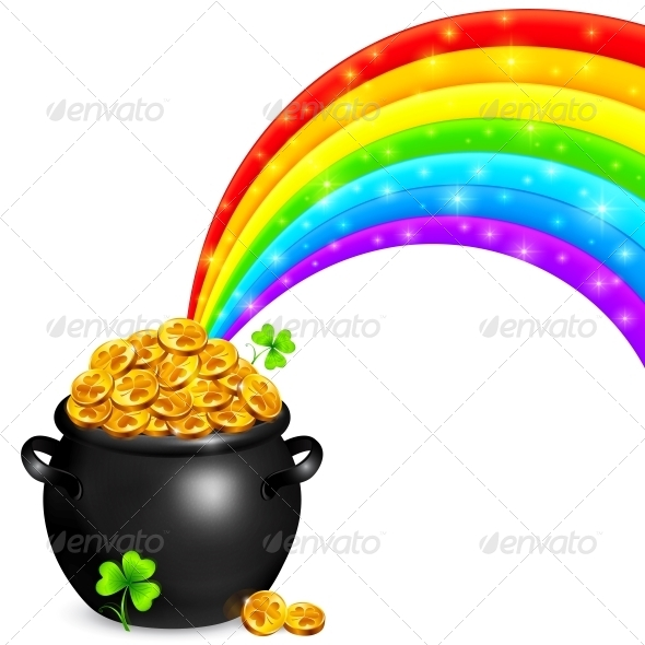GraphicRiver Pot of Gold with Magic Rainbow 6714061