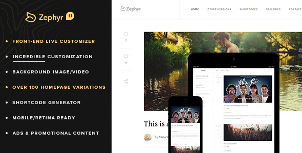 ThemeForest Retina Responsive WordPress Blog Zephyr 6630175
