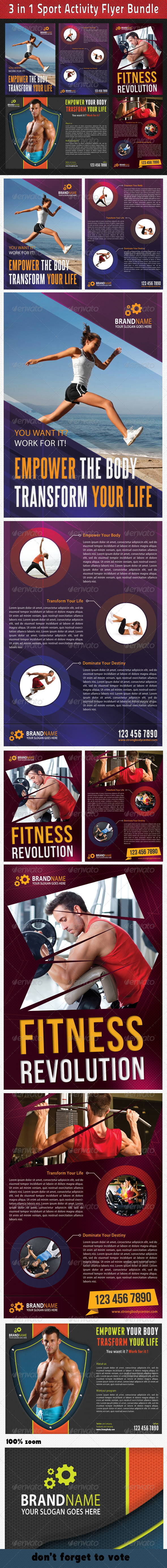 GraphicRiver 3 in 1 Sport Activity Flyer Bundle 02 6714185