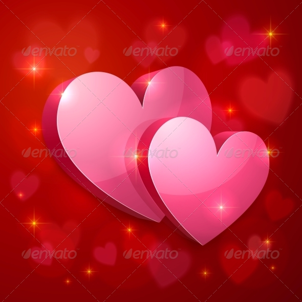 GraphicRiver Realistic Glossy Hearts Valentines Greeting Card 6714478