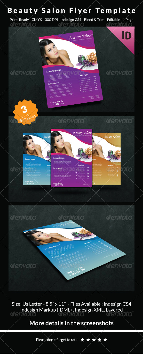 GraphicRiver Beauty Salon Flyer Template 6714529