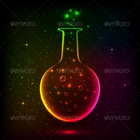 GraphicRiver Shining Rainbow Bottle with Magic Lights 6714540