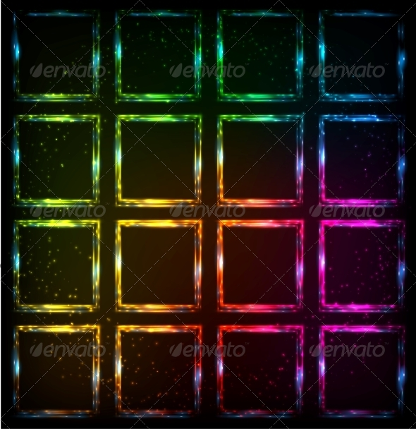GraphicRiver Rainbow Neon Squares Abstract Background 6714547