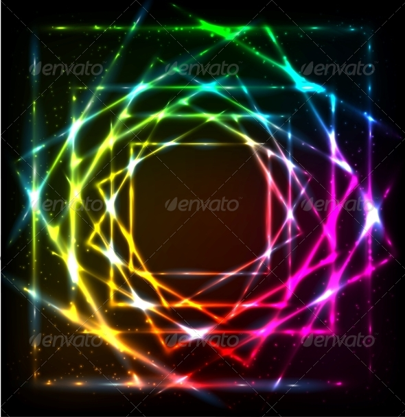 GraphicRiver Shining Lights Rainbow Colors Frame 6714582