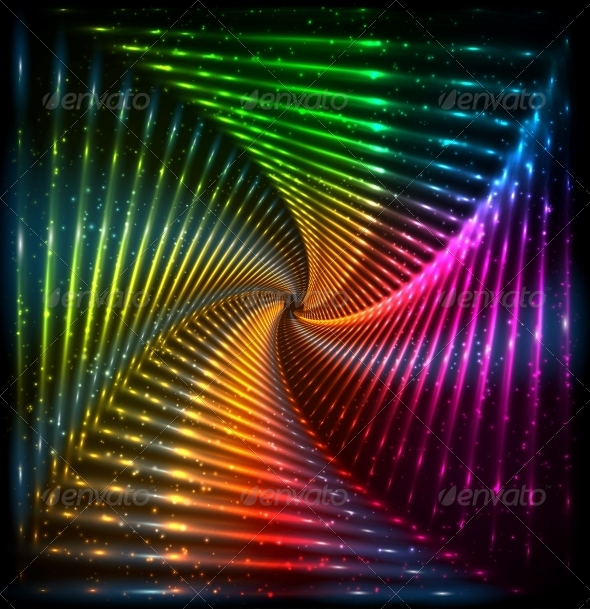 GraphicRiver Shining Lights Rainbow Colors Frame 6714625