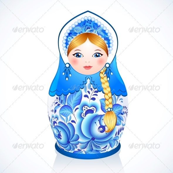 GraphicRiver Russian Traditional Doll in Gzhel Style 6715038