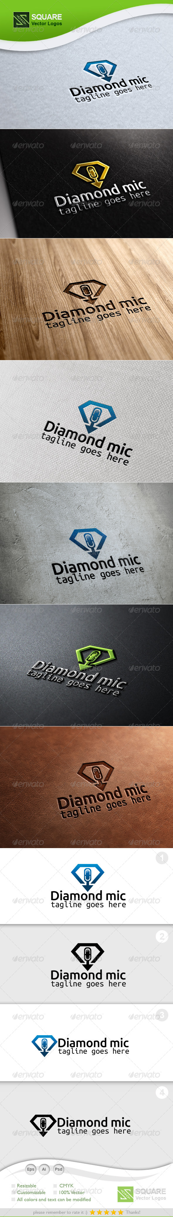 Diamond Mic Vector Logo Template - Objects Logo Templates