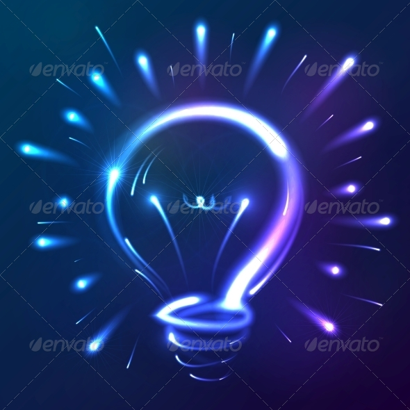 GraphicRiver Bright Blue Neon Lights Abstract Bulb 6715309