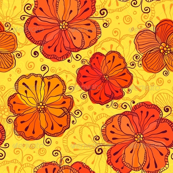 GraphicRiver Orange Doodle Flowers Seamless Pattern 6715361