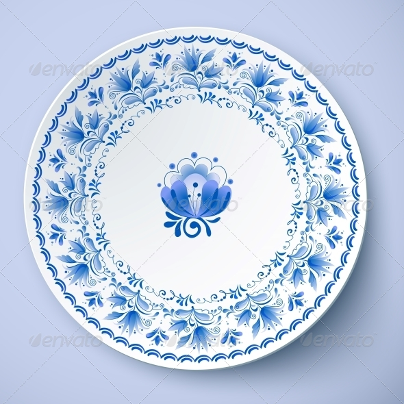 GraphicRiver White Plate with Russian Ornament 6715373