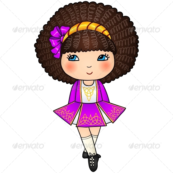 GraphicRiver Irish Dancing Girl in Violet Traditional Dress 6715383