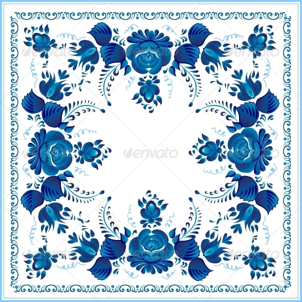 GraphicRiver Russian National Blue Floral Pattern 6715386