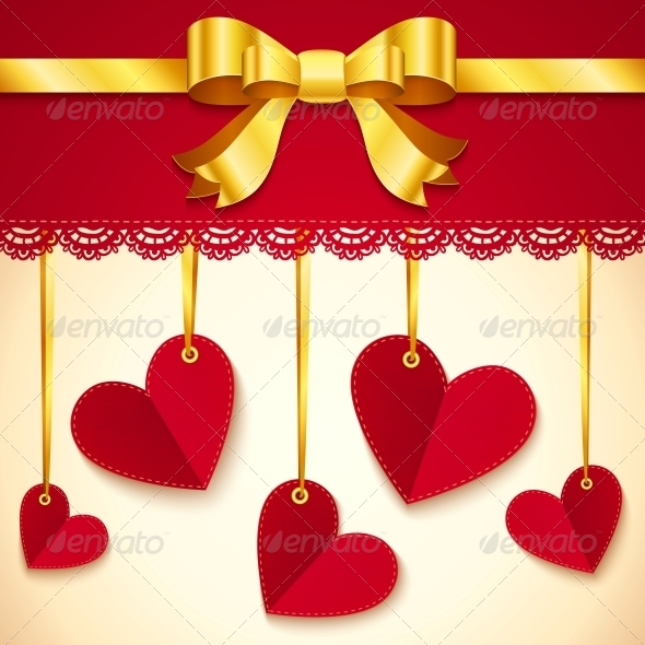 GraphicRiver Valentine s Day Greeting Card with Hearts and Bow 6715405