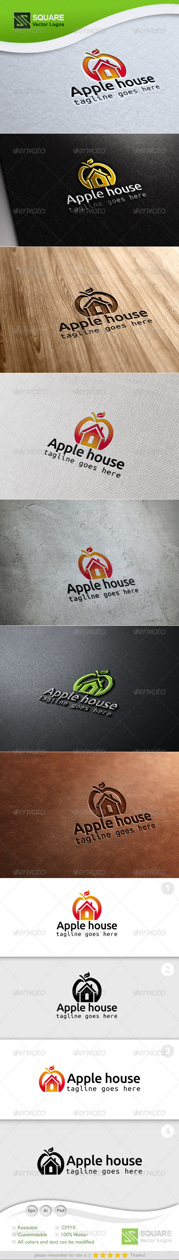 Apple, House Vector Logo Template - Food Logo Templates