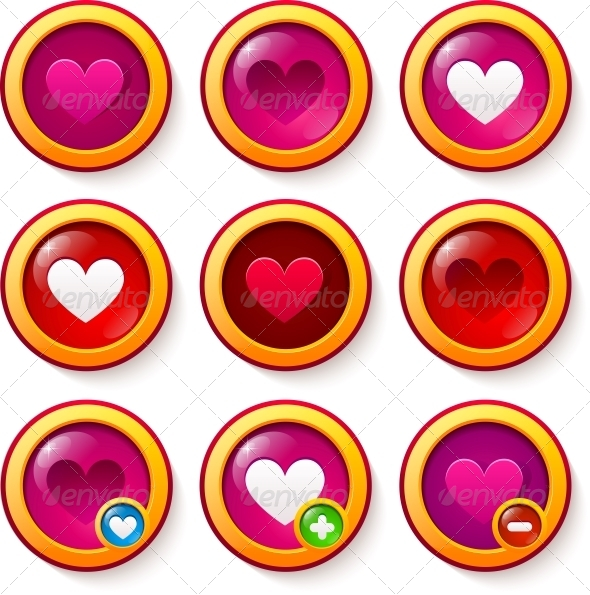 GraphicRiver Set of Red Glass Buttons with Hearts 6715425