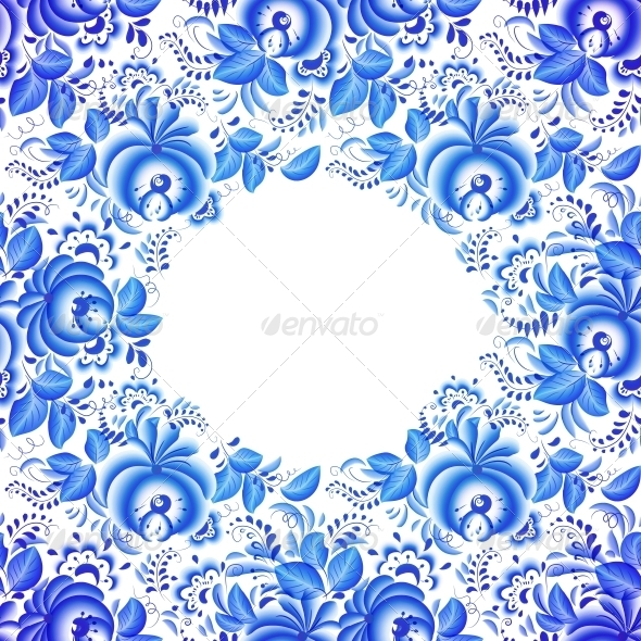 GraphicRiver Ornate Blue Floral Frame 6715482