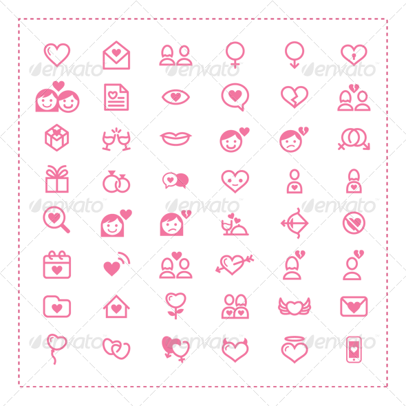 GraphicRiver 48 Love and Romance Icons 6716311