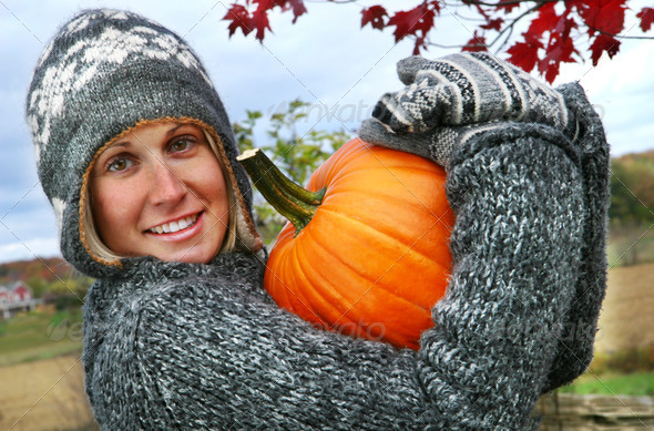 Gathering pumpkins for Thanksgiving  - Stock Photo - Images
