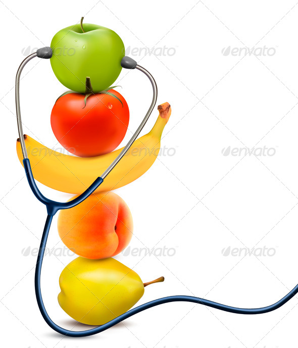 GraphicRiver Fruit with a Stethoscope Healthy Eating Concept 6717146