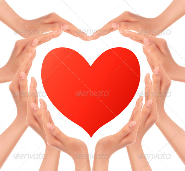 GraphicRiver Heart of Hands Holding a Red Heart 6717201