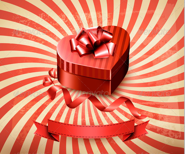 GraphicRiver Heart-Shaped Gift Box on Retro Background 6717259