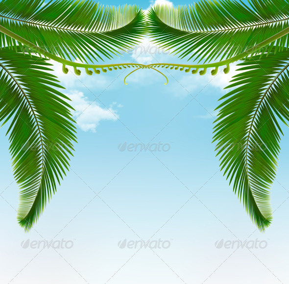GraphicRiver Palm Leaves on Sky 6717308