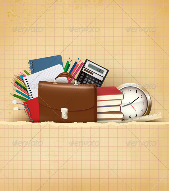 GraphicRiver Back to School Background with School Supplies 6717311