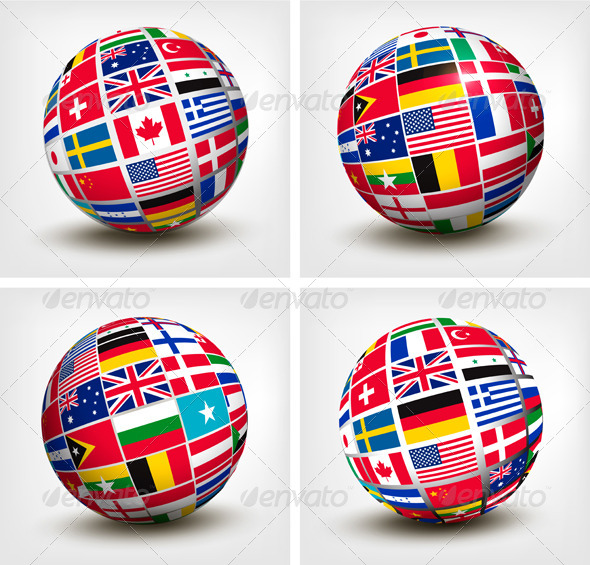 GraphicRiver Flags of the World in Globe 6717316