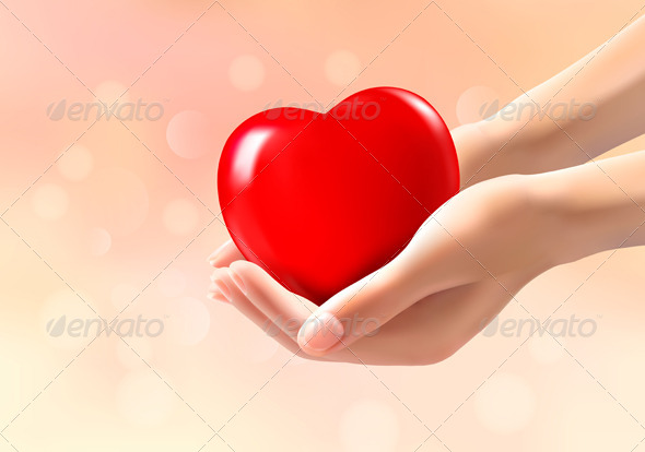 GraphicRiver Hands Holding a Red Heart 6717380