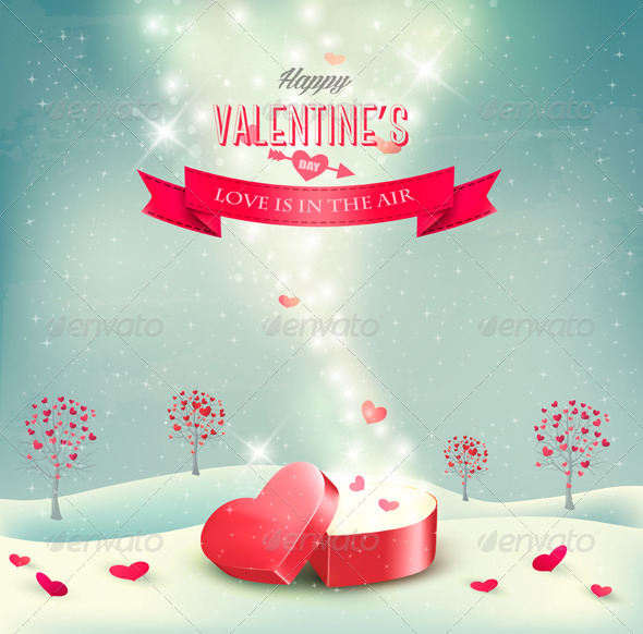 GraphicRiver Valentines Day Background with an Open Box 6717381