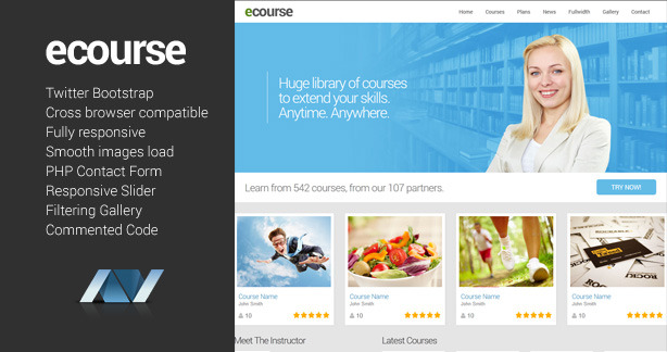 Ecourse - Responsive Website Template