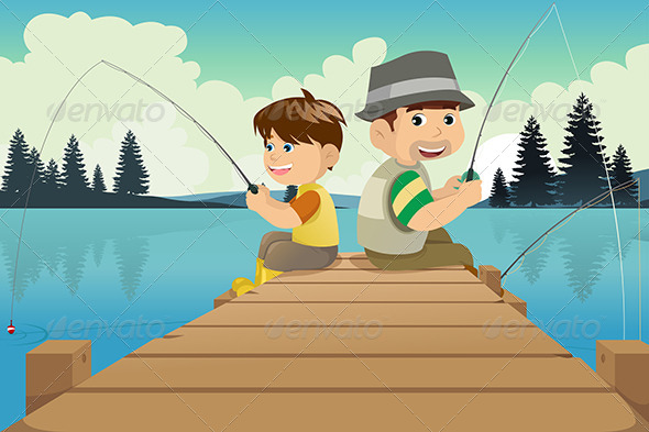 GraphicRiver Father and Son Going Fishing in a Lake 6717716