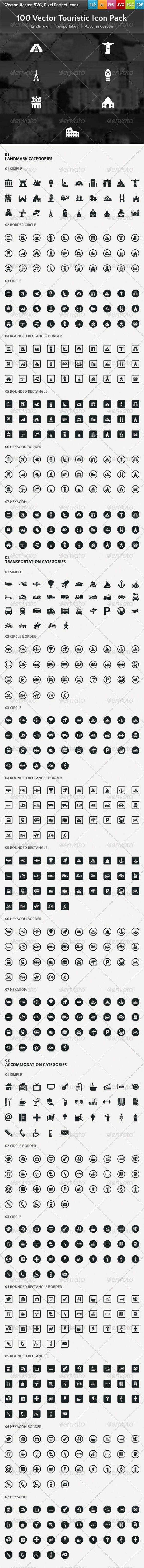 GraphicRiver 100 Vector Touristic Icons 6679170