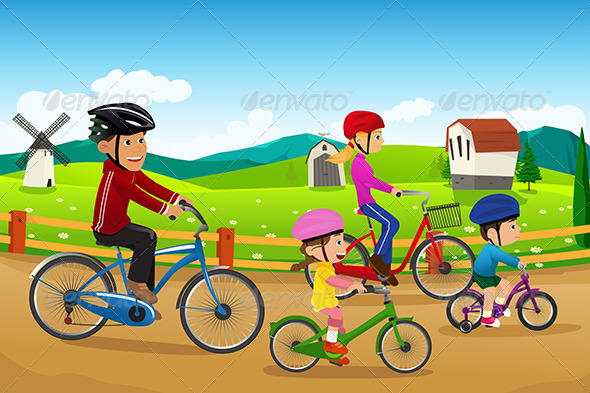 GraphicRiver Family Going Biking Together 6717789