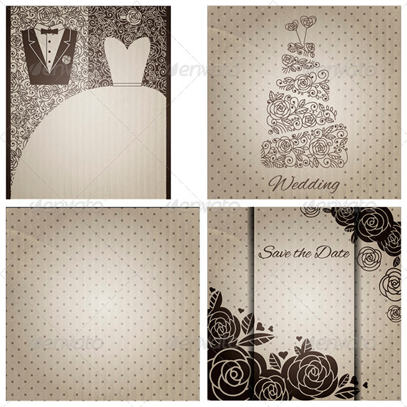 GraphicRiver Set of Wedding Cards in Vintage Style 6717795