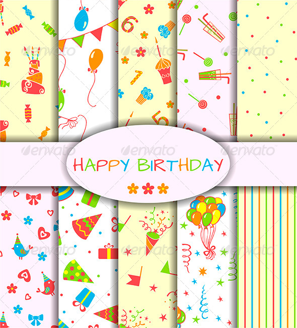 GraphicRiver Set of Ten Happy Birthday Patterns 6717801