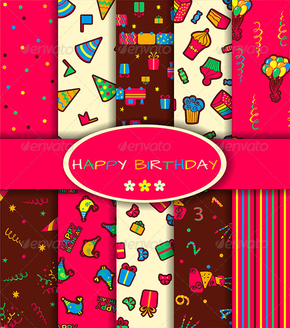 GraphicRiver Set of Ten Happy Birthday Patterns 6717810