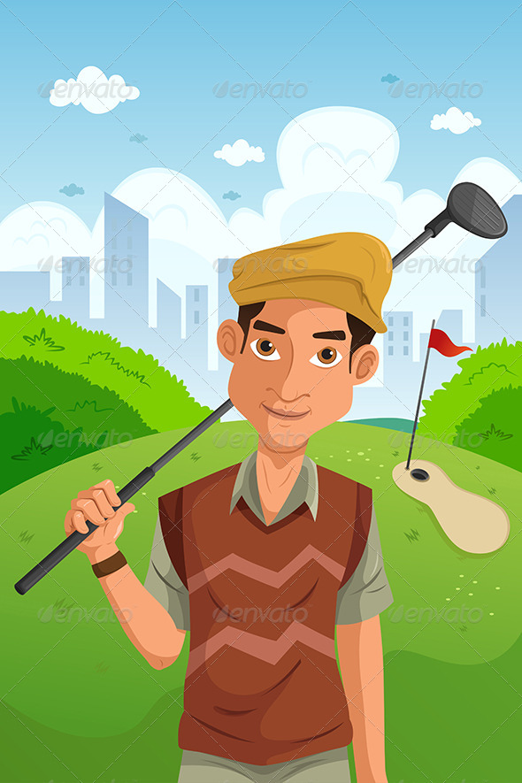GraphicRiver Man Playing Golf 6718029