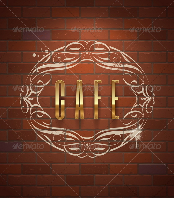 GraphicRiver Cafe Decorative Golden Sign on Vintage Brick Wall 6718567