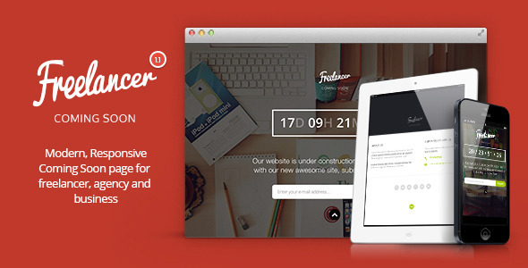 Freelancer - Responsive Coming Soon Template - Under Construction Specialty Pages