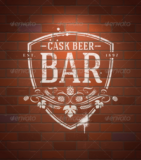 GraphicRiver Bar Sign Painted on Vintage Brick Wall 6718597