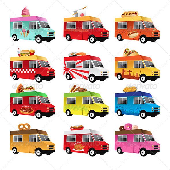 GraphicRiver Food Trucks 6718867